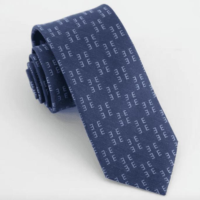 Tie Bar Monogram Navy Tie