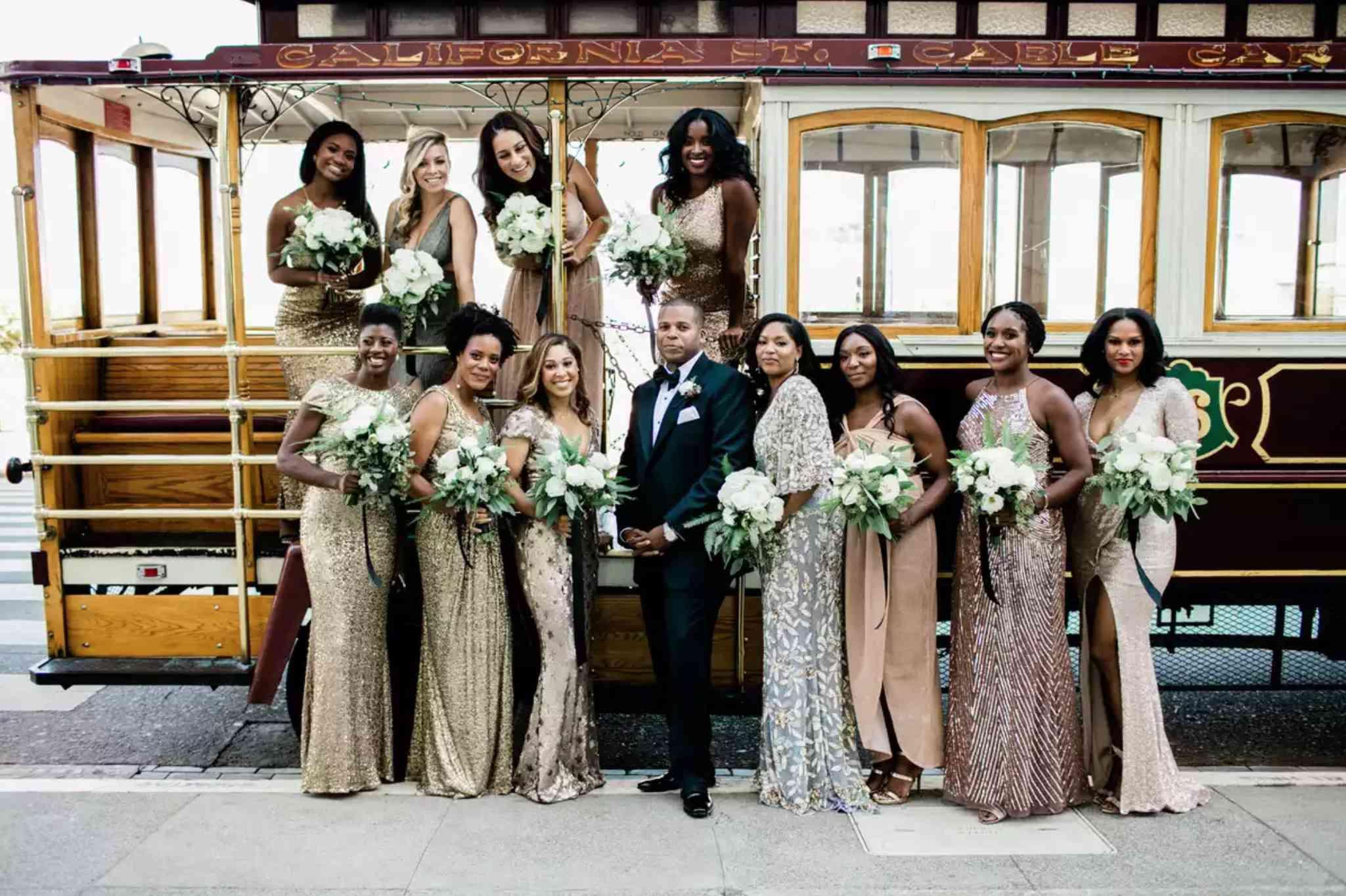 Mixed metallic bridesmaids dresses
