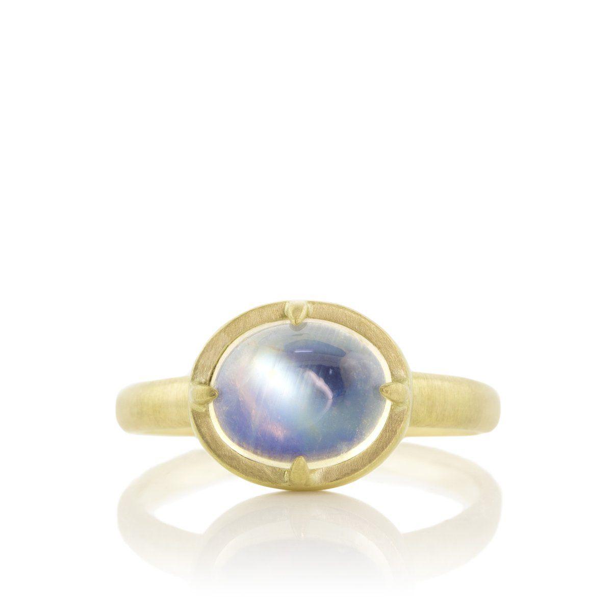 Horizontal moonstone prong ring