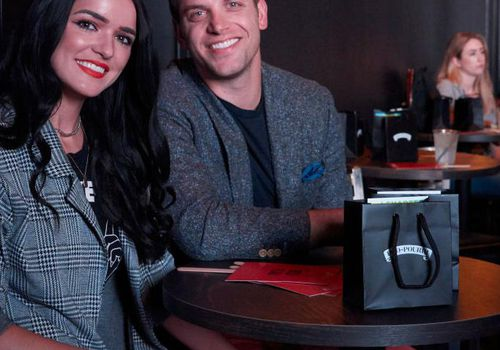 """Raven Gates and Adam Gottschalk look on during """"U UP?"""" LIVE with Poo~Pourri & Betches at Canton Hall on October 1, 2018 in Dallas, Texas."""
