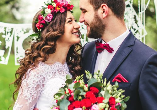 Bride with Flower Crown at Outdoor Wedding