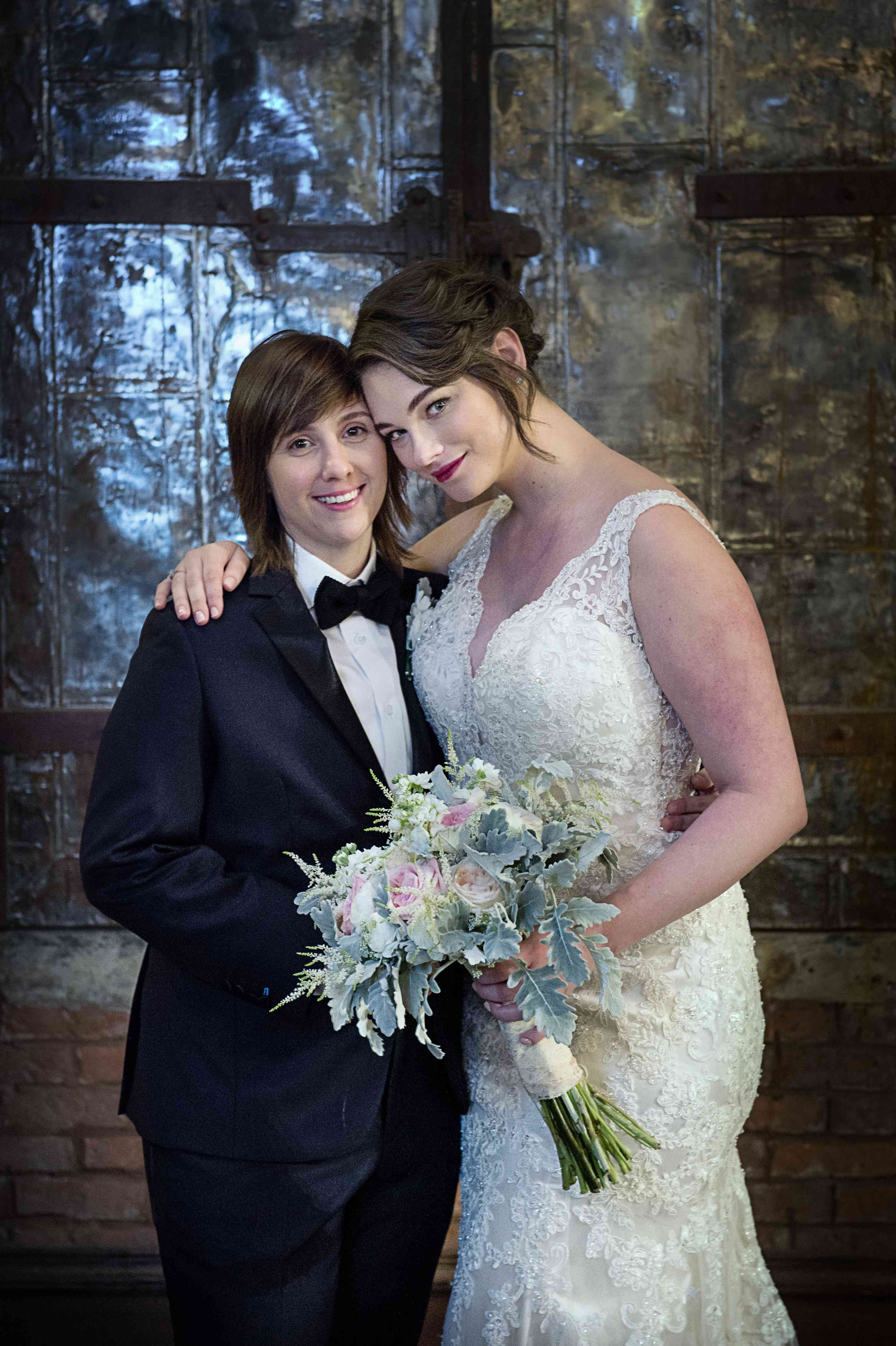Jennie Runk and spouse on their wedding day