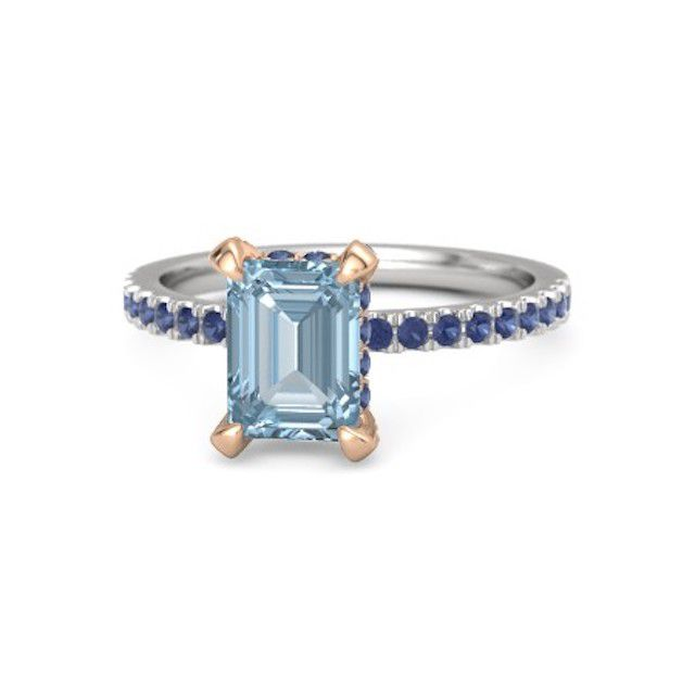 Gemvara Emerald-Cut Aquamarine Carrie Engagement Ring