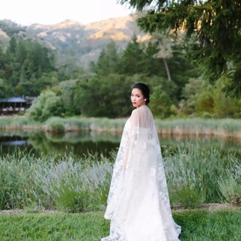 Bridal portrait with lace cape