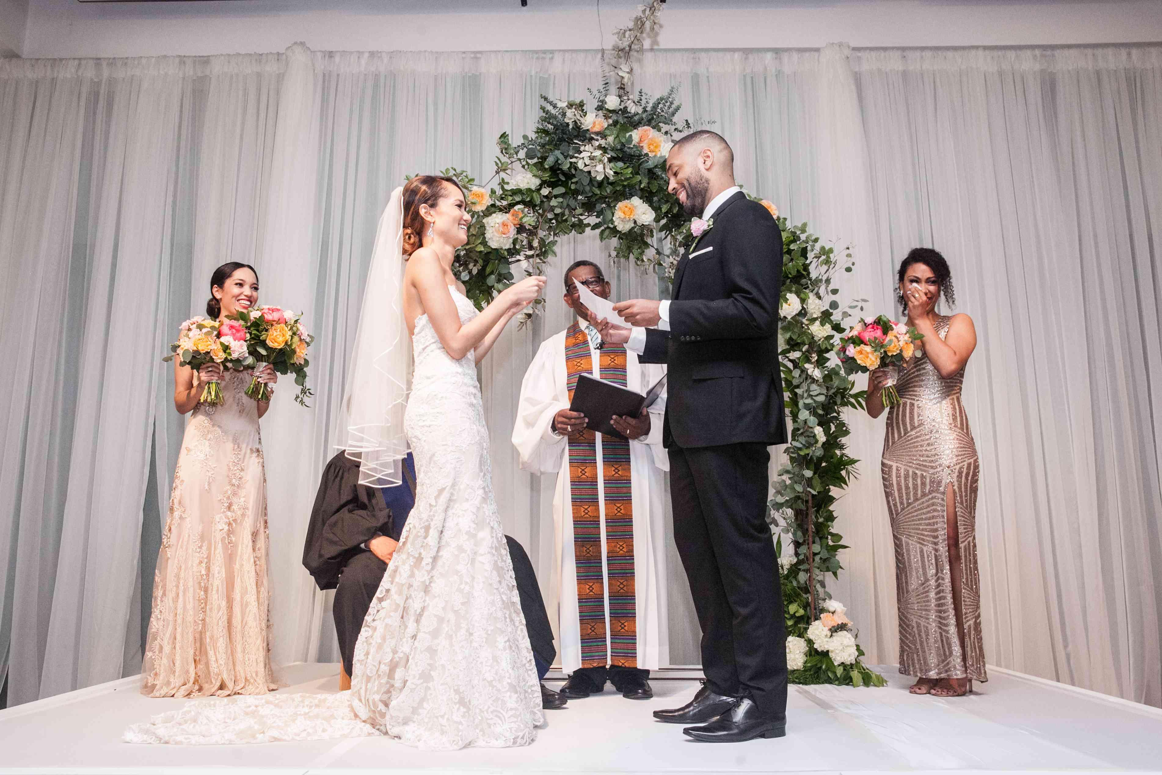 <p>Bride and Groom Exchange Vows</p><br><br>