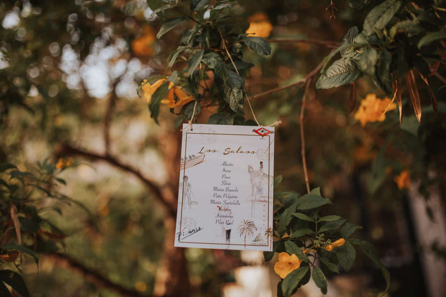 <p>Table assignments hanging from tree</p><br><br>