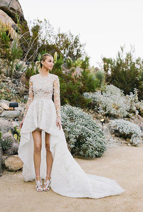 Whitney Port marries Tim Rosenman in a high-low wedding dress by Ashi Studio, 2015