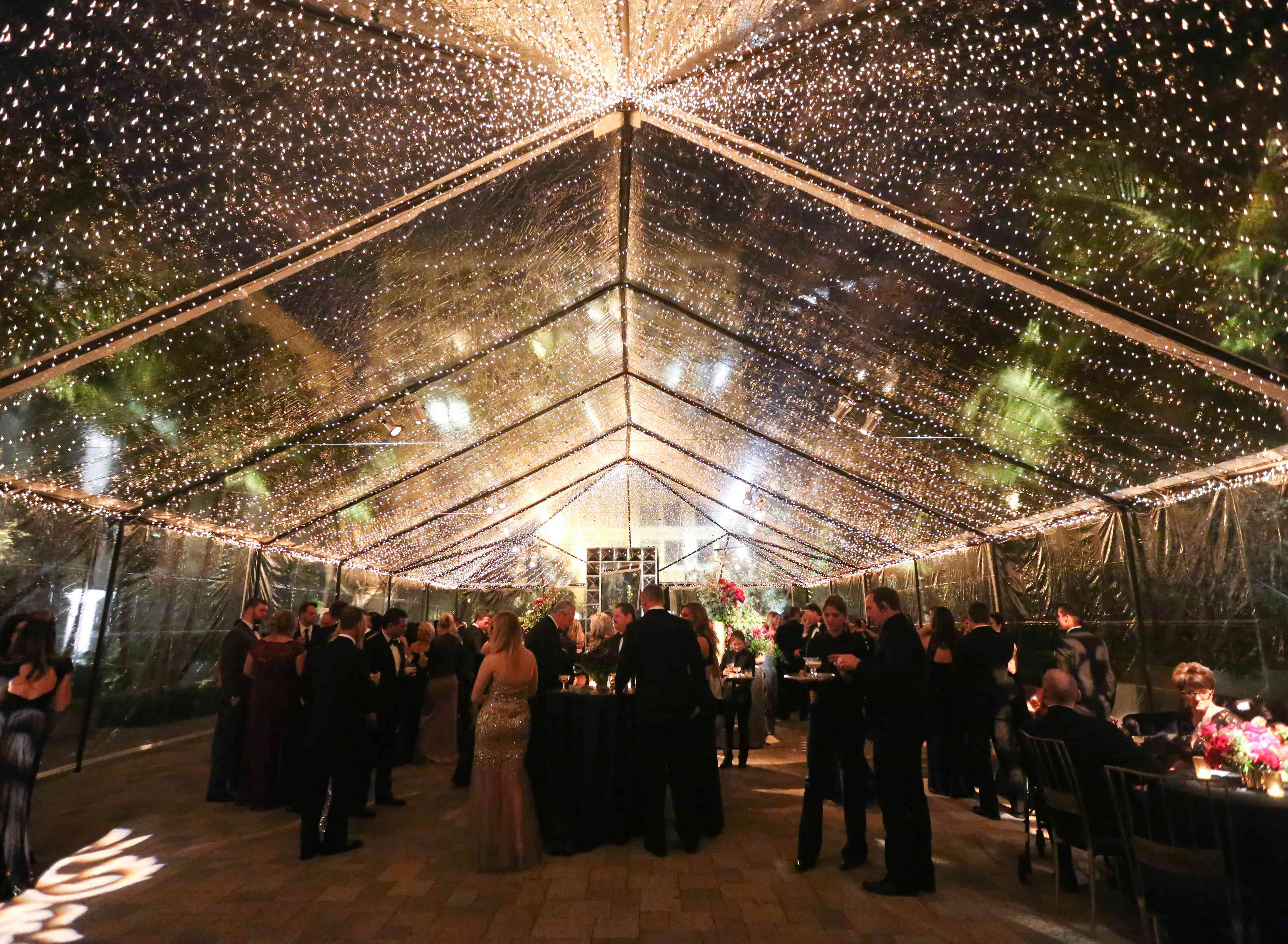 Evening reception with string lights