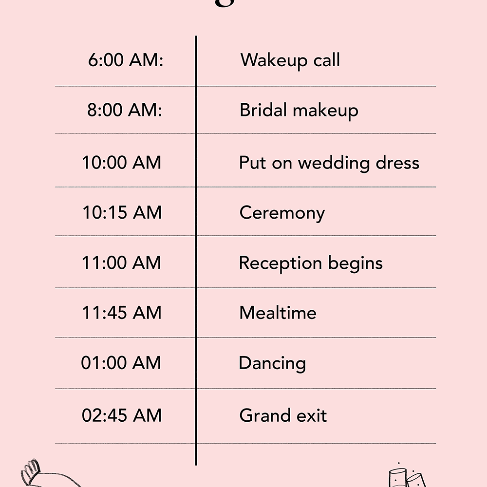 daytime wedding timeline