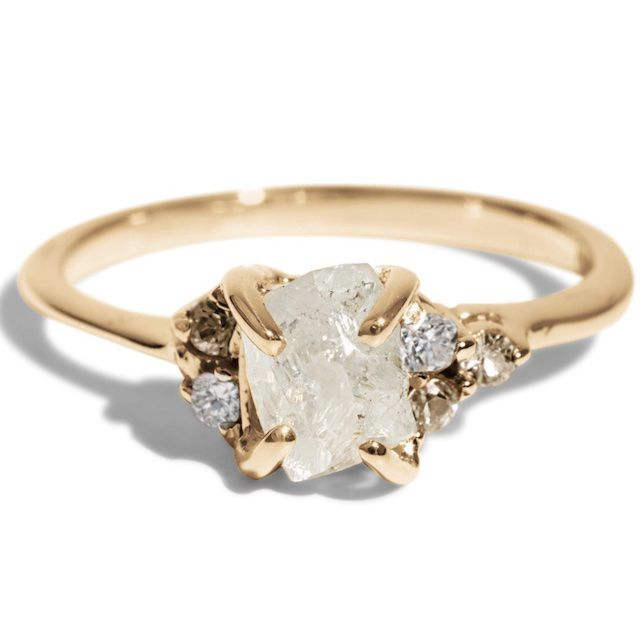 Bario Neal Avens Asymmetrical Raw Diamond with Champagne Ombré Ring