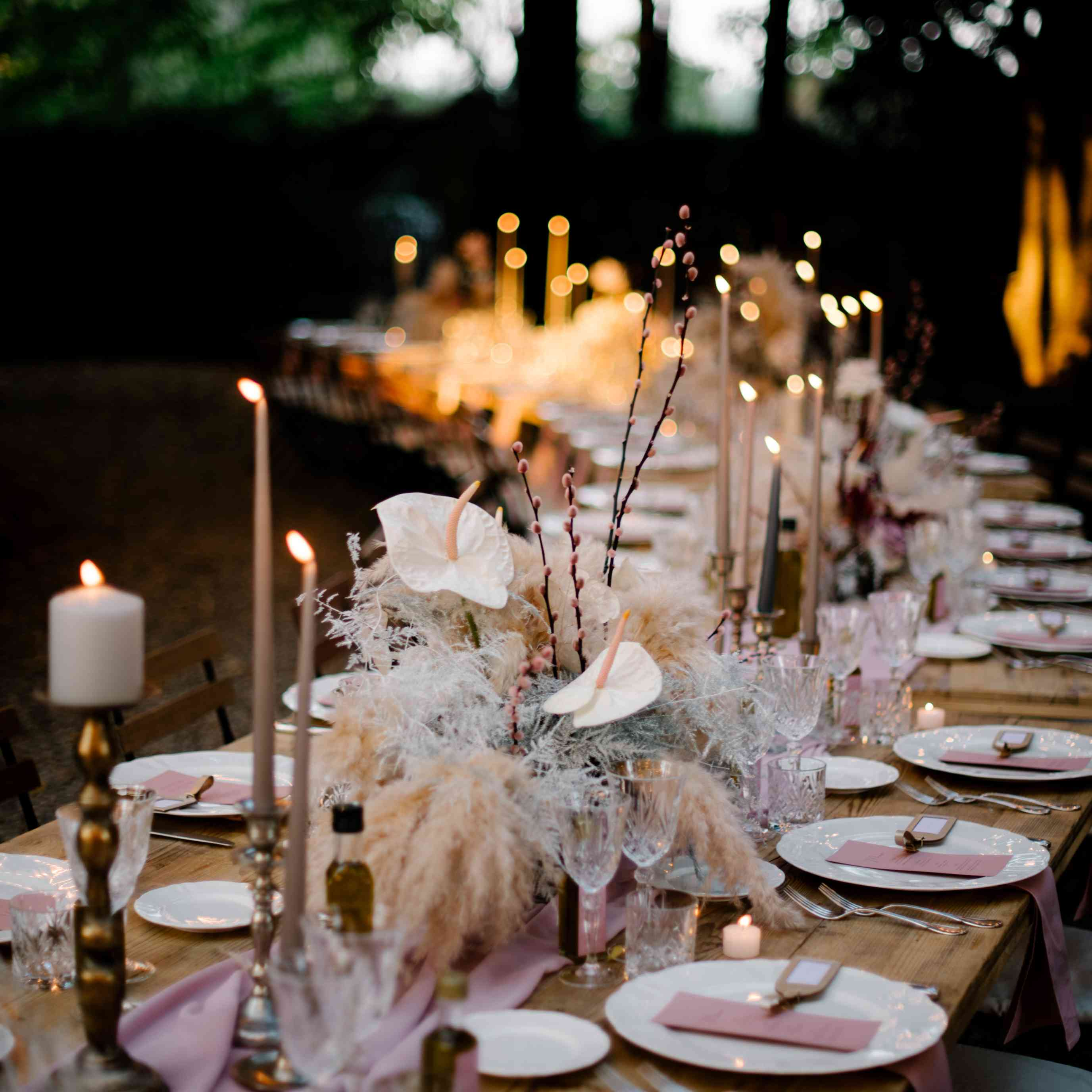 Table setting with blush accents