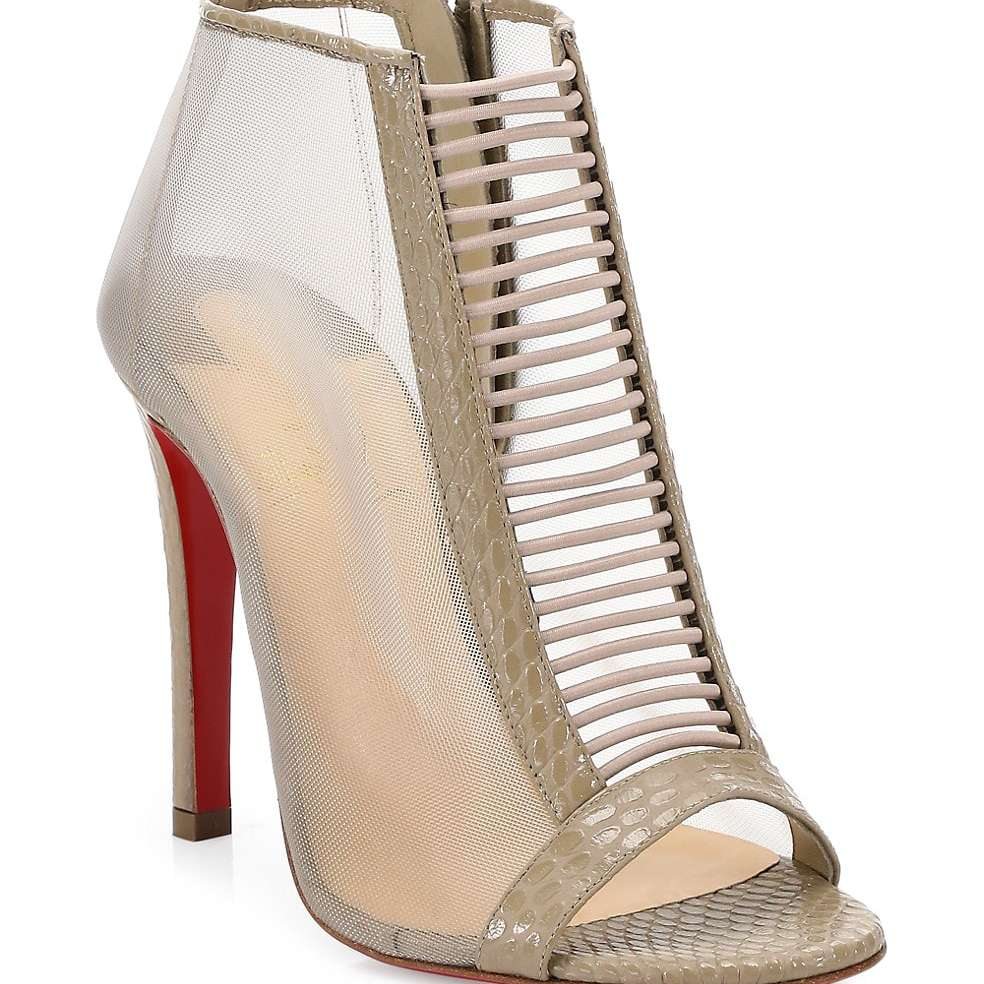Christian Louboutin Trouble Snakeskin-Embossed Leather Mesh Booties