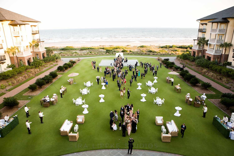 Wedding reception set-up next to the beach