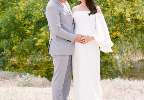 Pregnant Bride With Baby Bump On Wedding Day