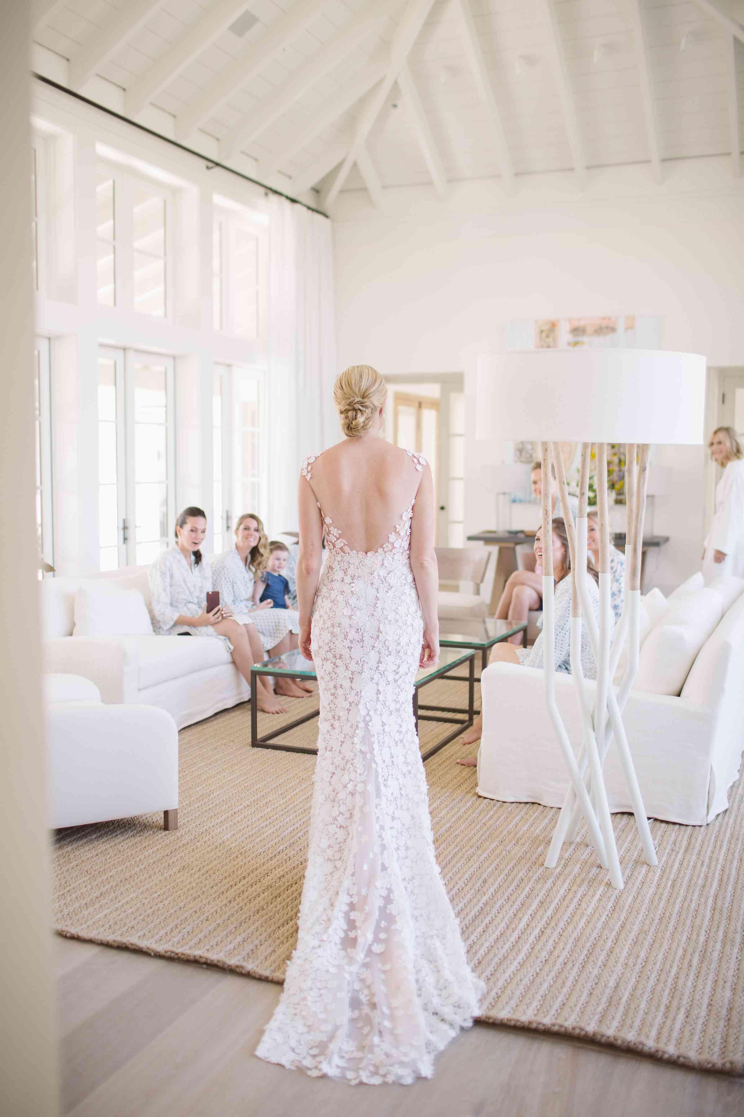 <p>bride showing dress to bridesmaids</p><br><br>