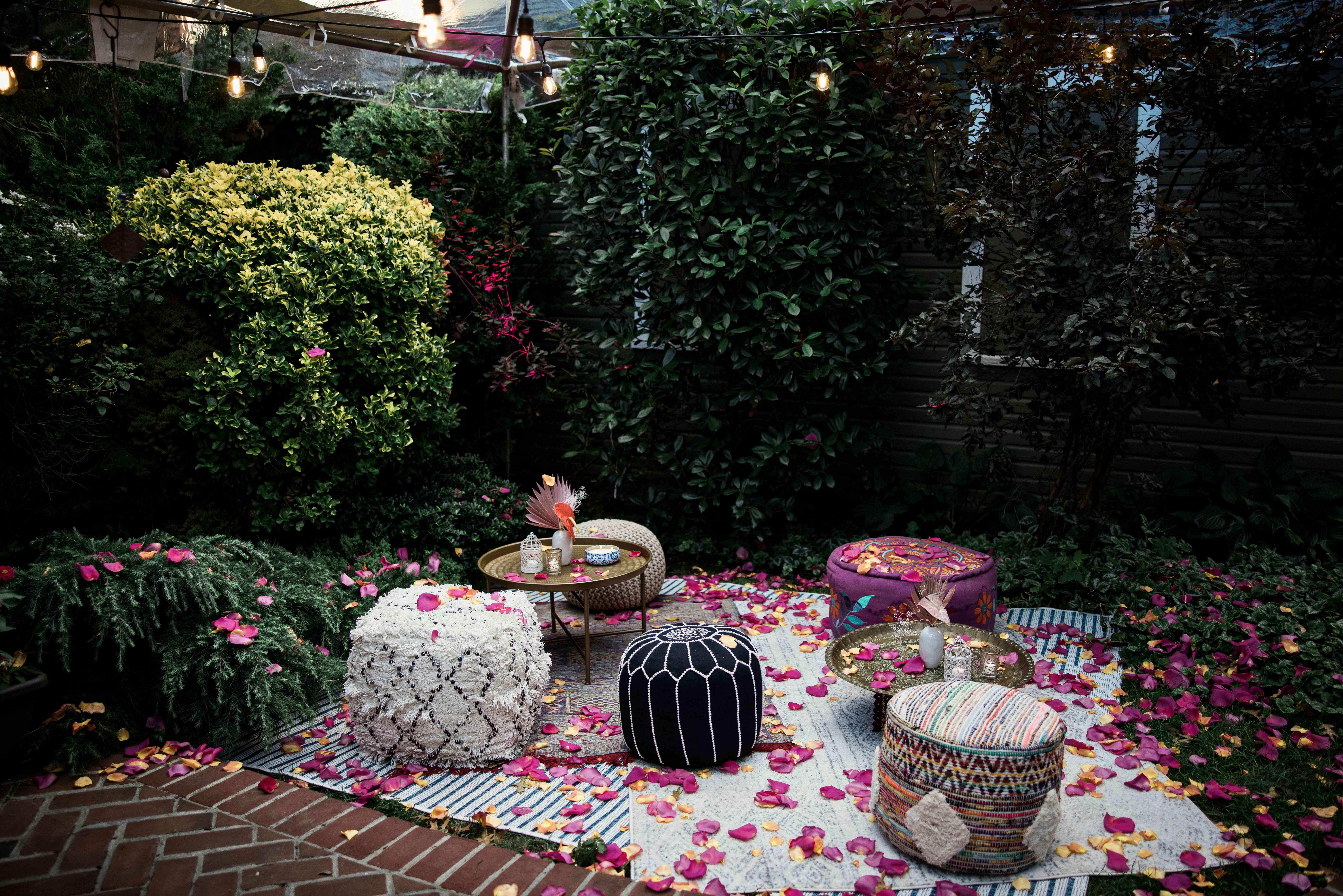 A backyard floor seating arrangement