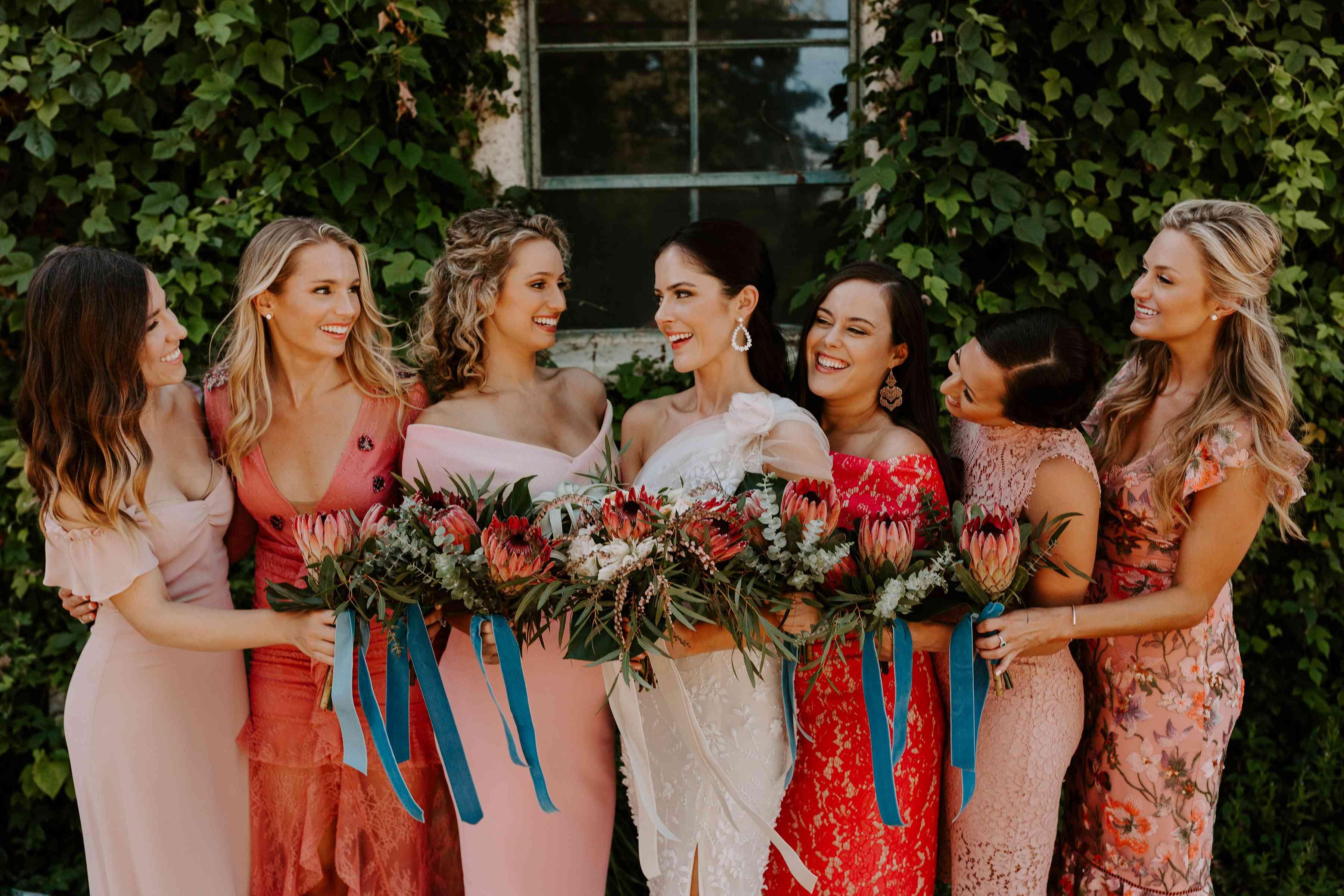 <p>bride and bridesmaids</p><br><br>