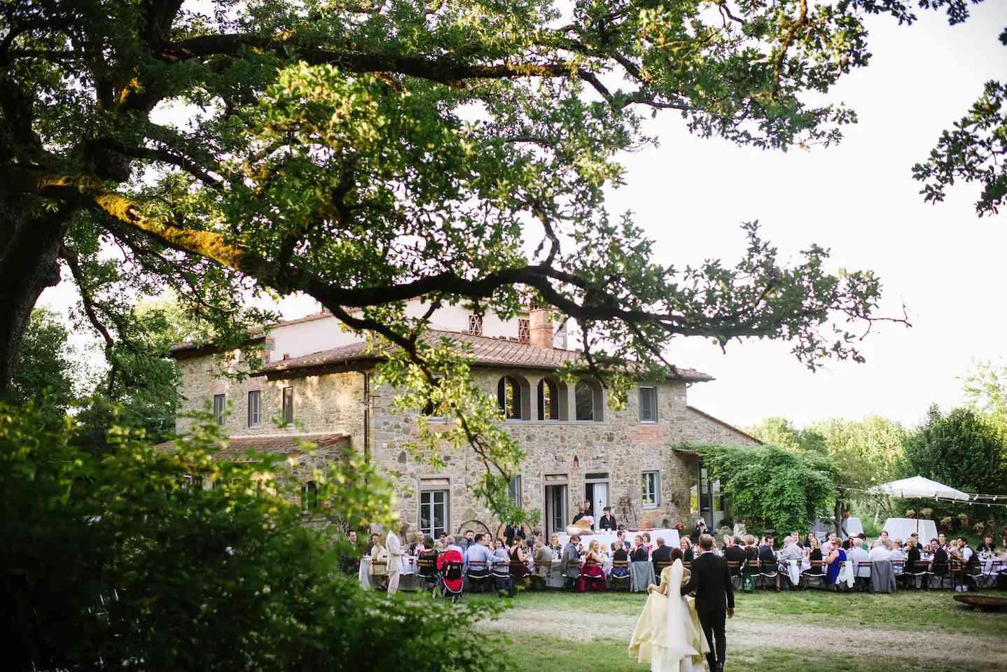 A Tuscan villa Airbnb wedding reception