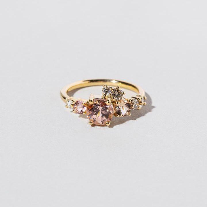 Mociun Lotus Garnet Luna Ring