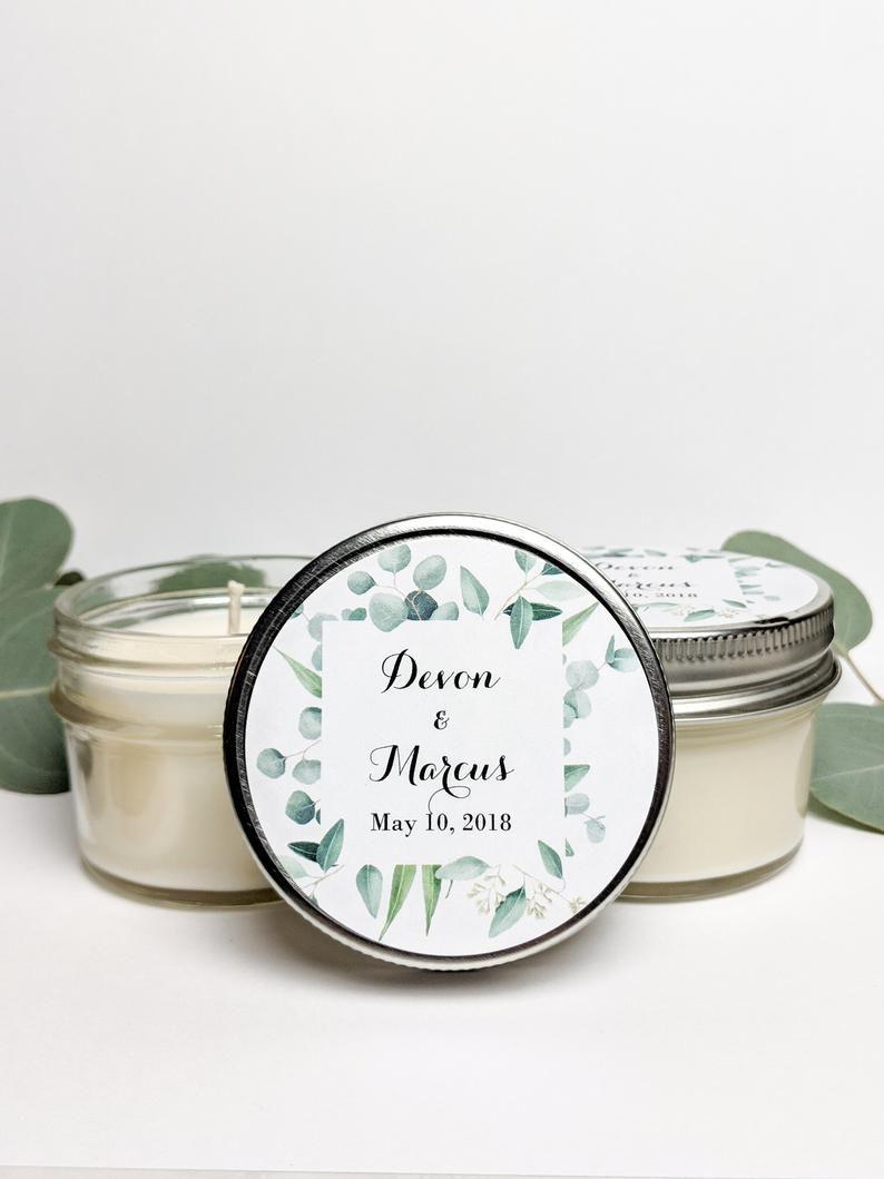 Mini mason jar candle with greenery