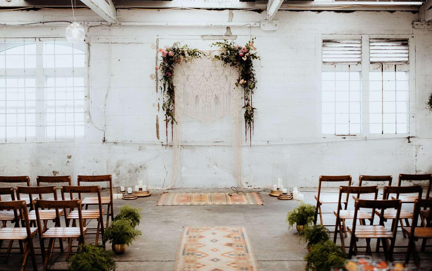 White warehouse wedding ceremony