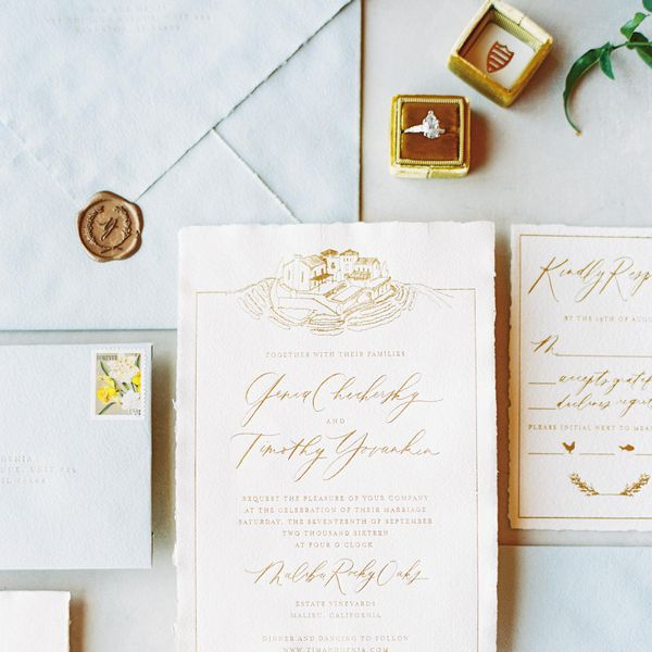 Wedding invitation suite and engagement ring