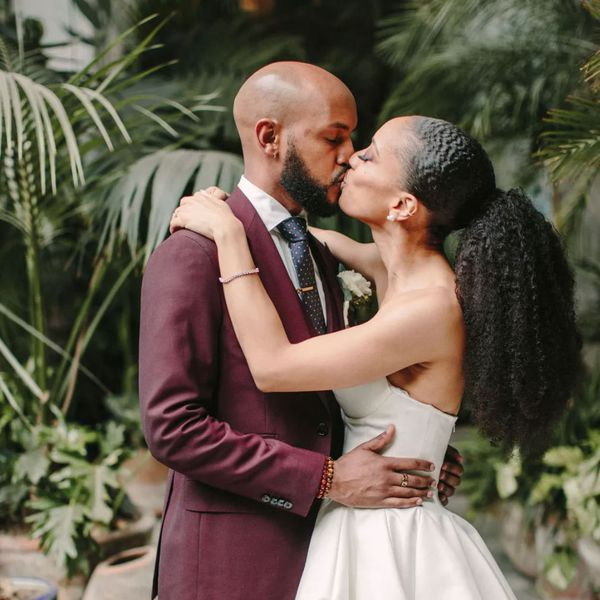 bride and groom with beard