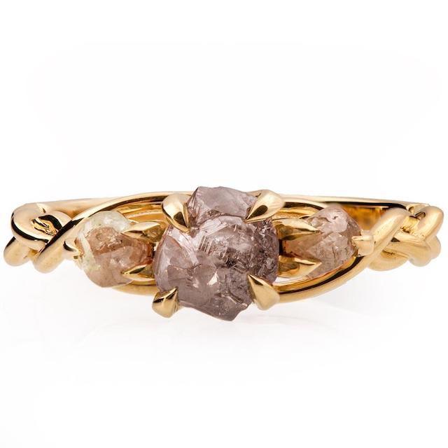 Braided Raw Diamond Engagement Ring Yellow Gold