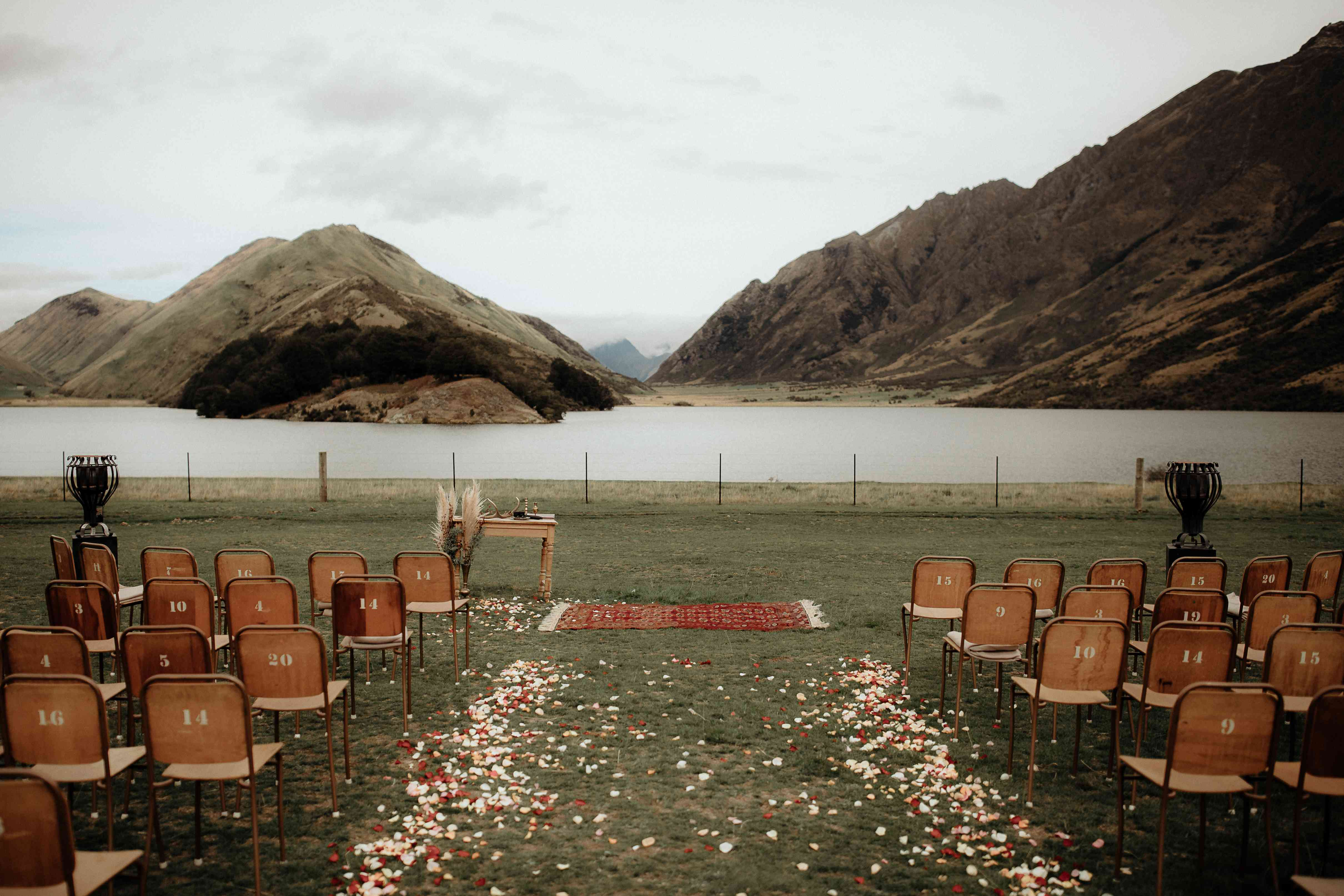 Wedding ceremony by a lake