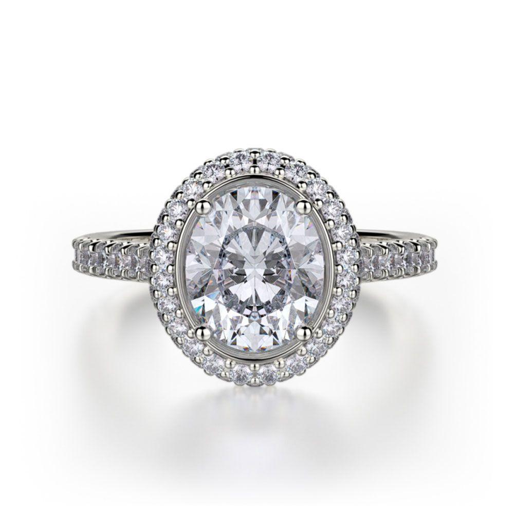 Michael M White Gold Oval-Cut Diamond Engagement Ring