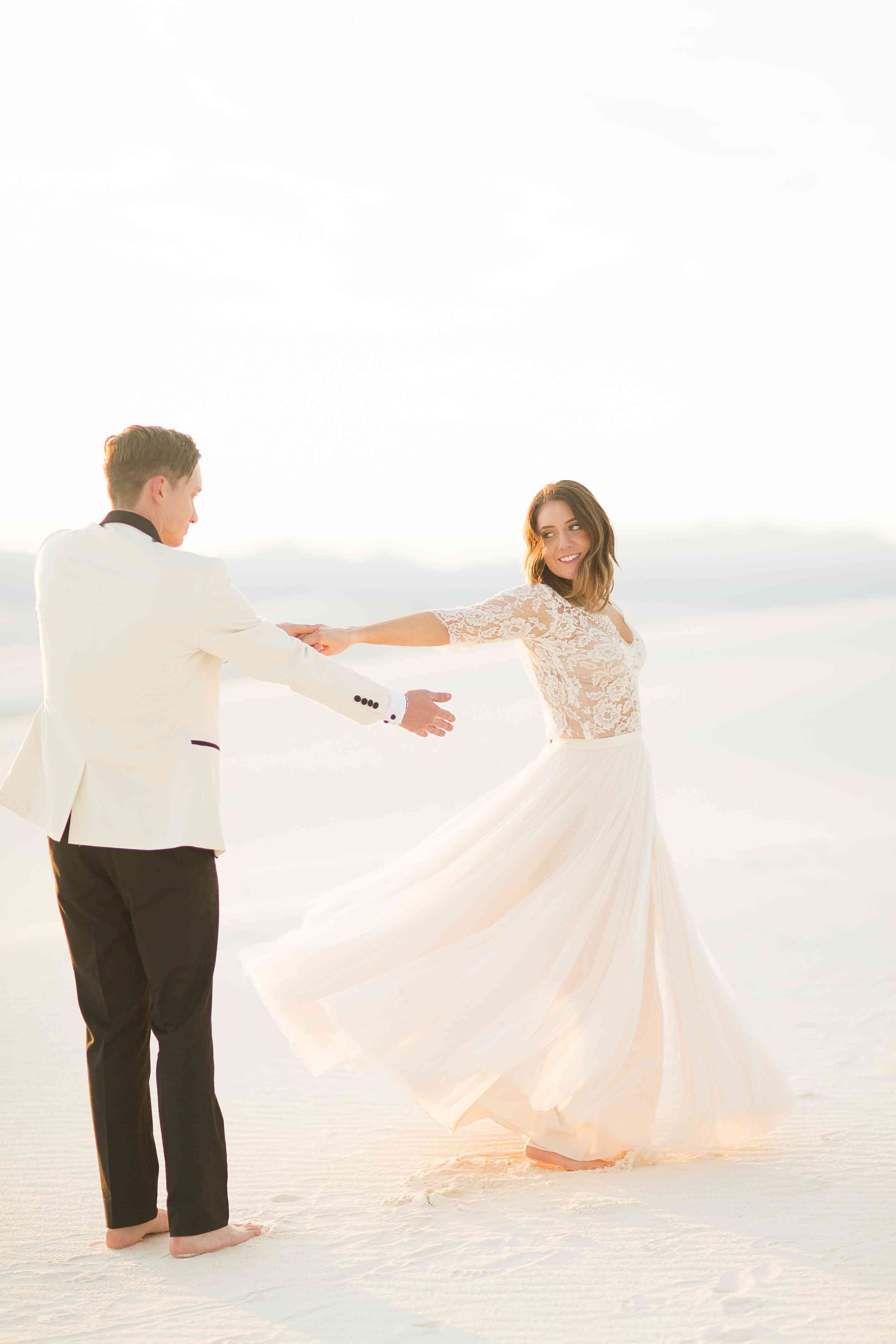 Bride and Groom Desert Wedding Portrait