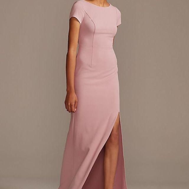 DB Studio T-Shirt Sleeve Stretch Crepe Dress with Slit $99.95