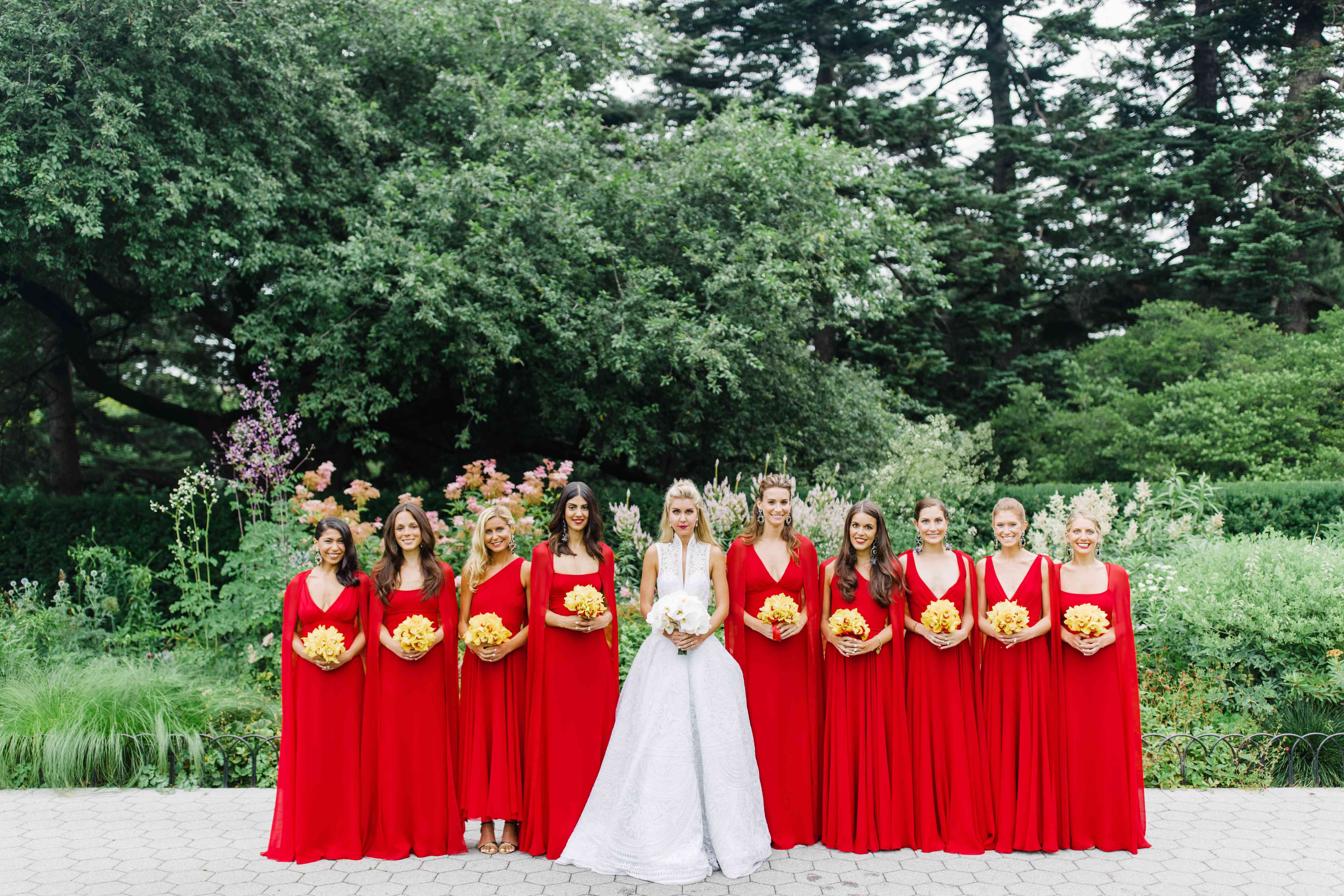 Bridal Party in Red Bridesmaid Dresses
