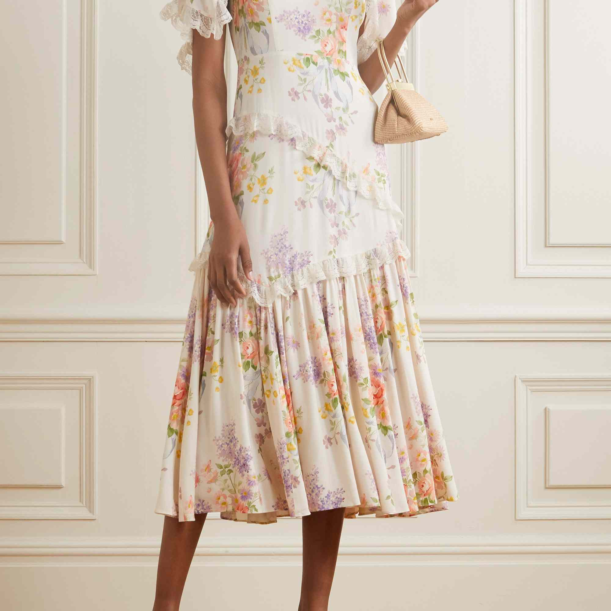 Needle & Thread Elsa Lace-Trimmed Floral-Print Broderie Anglaise Crepe Dress, $520, on sale $265