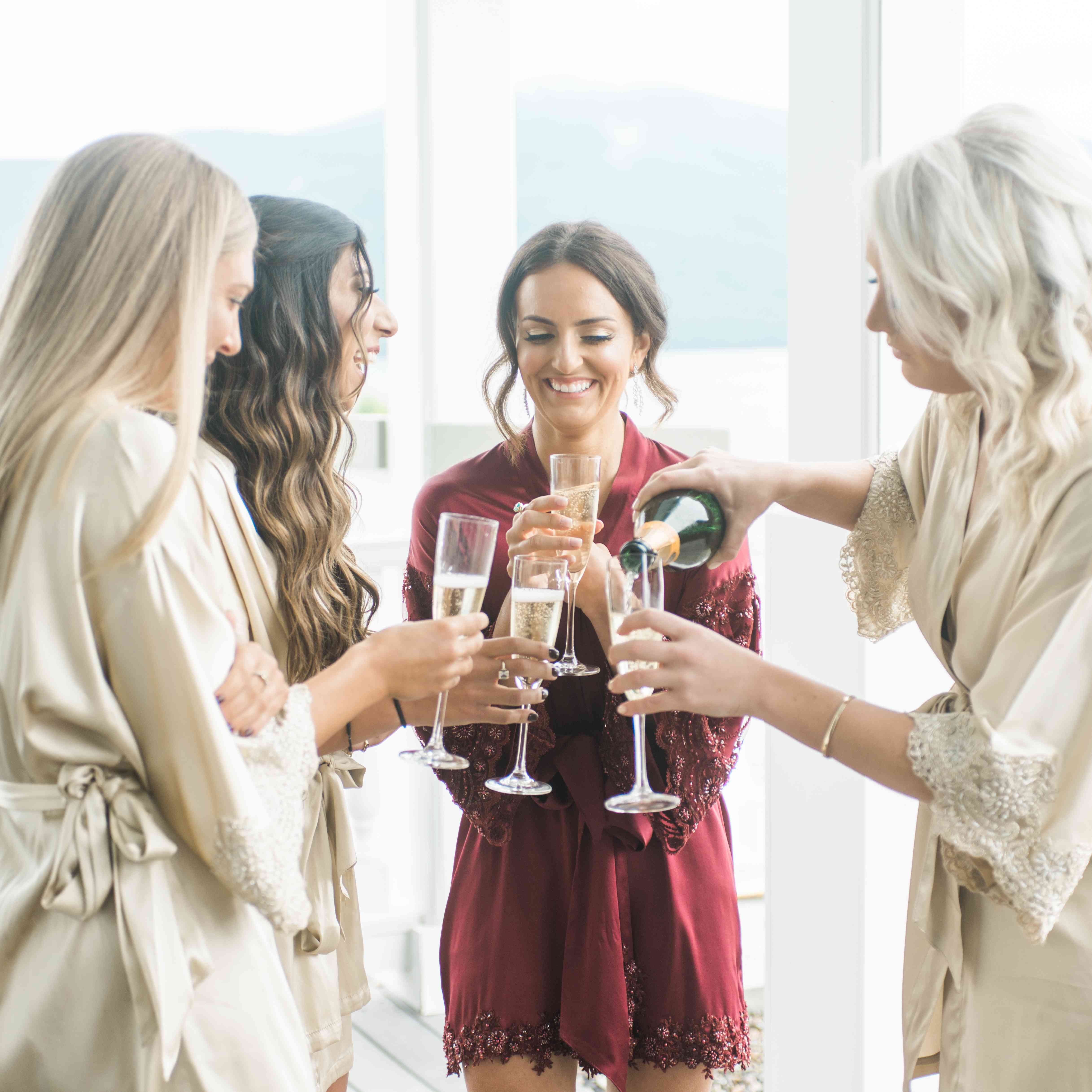 Bridal shower with champagne
