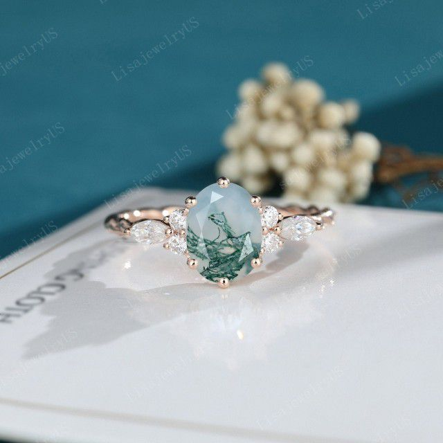 Oval Moss Agate engagement ring