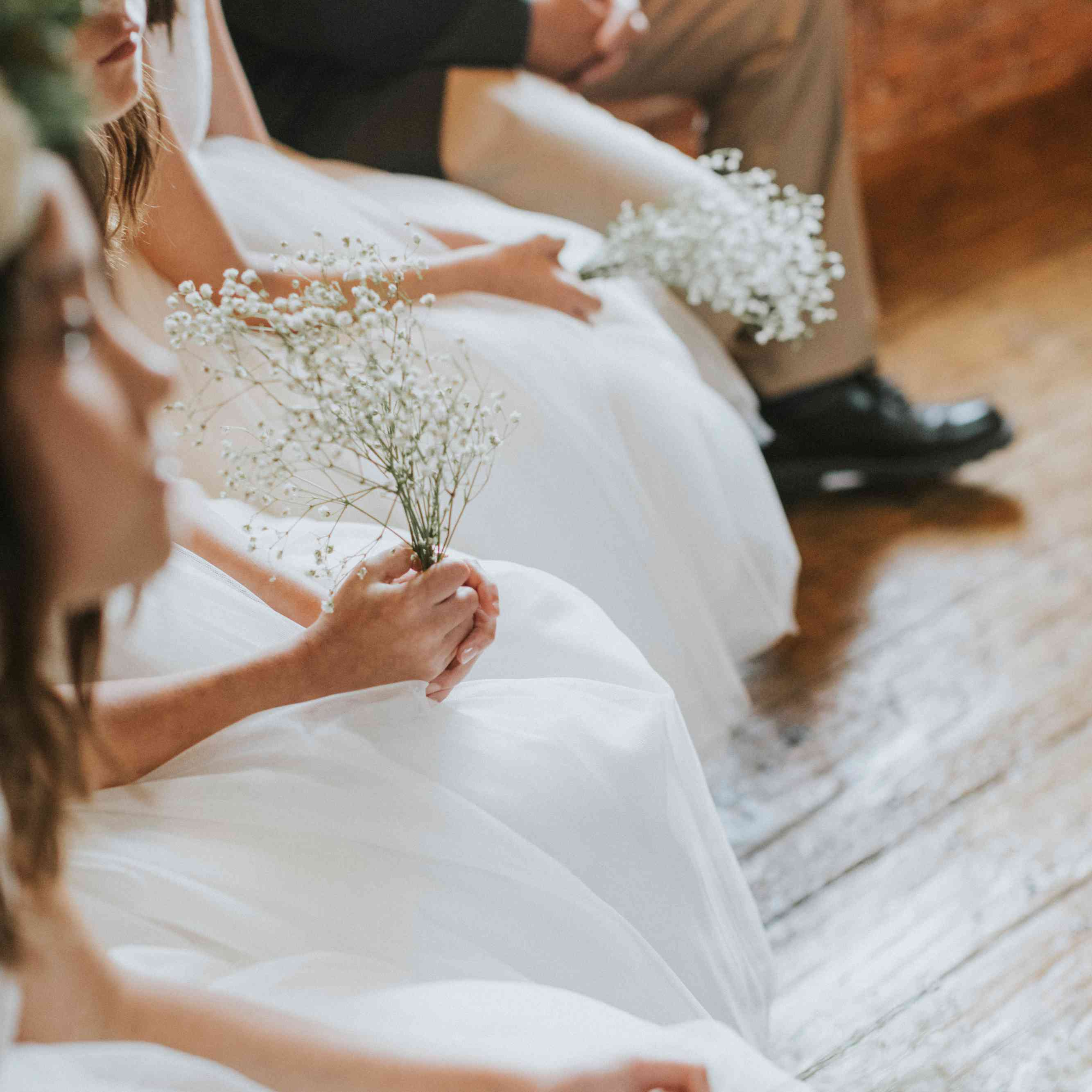 flower girls with baby's breath