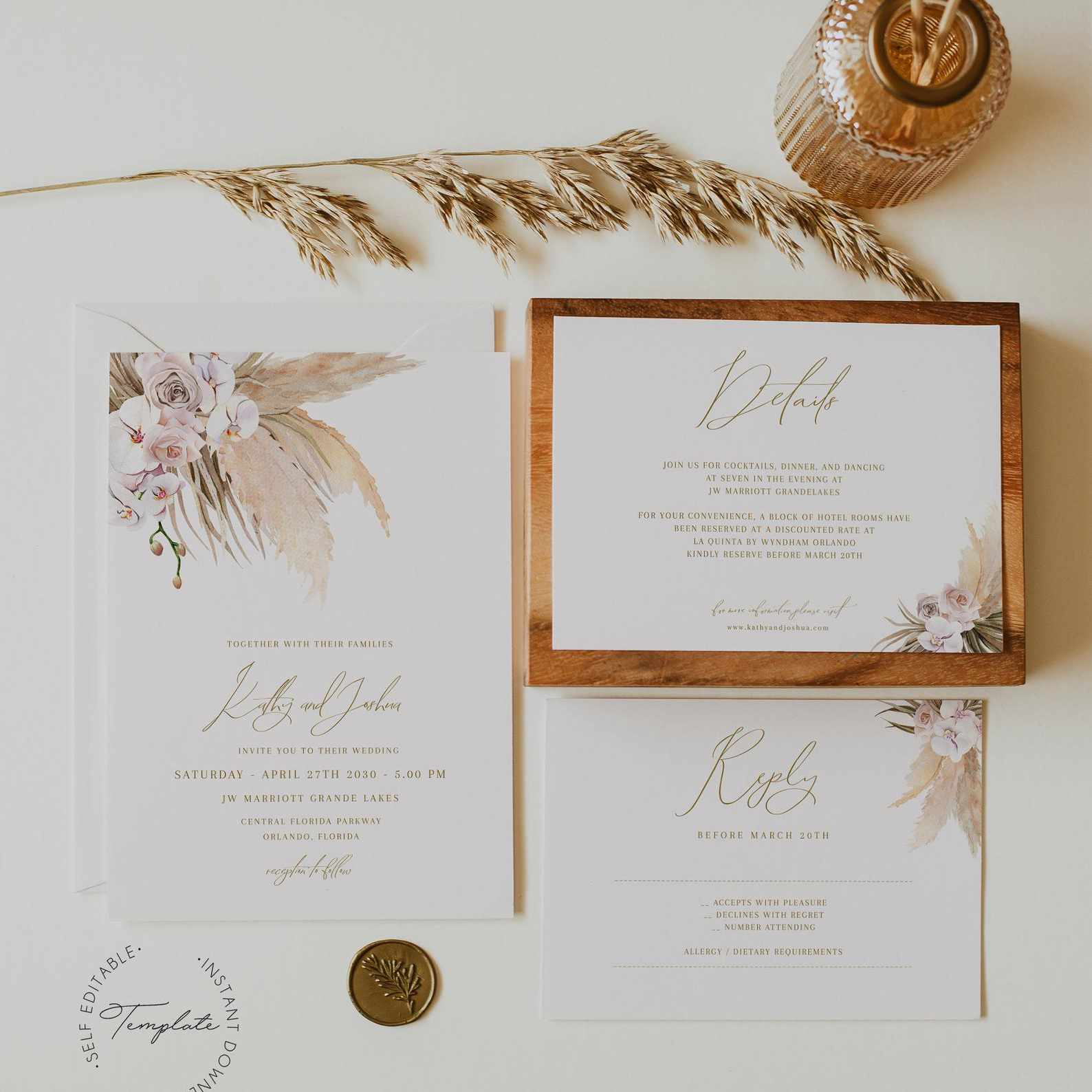 Rose outdoor wedding floral nature Wedding Invitations wildflowers printed or printable garden