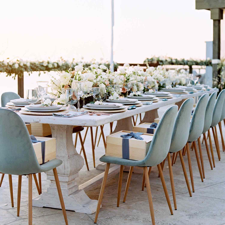 intimate california wedding, blue velvet reception chairs