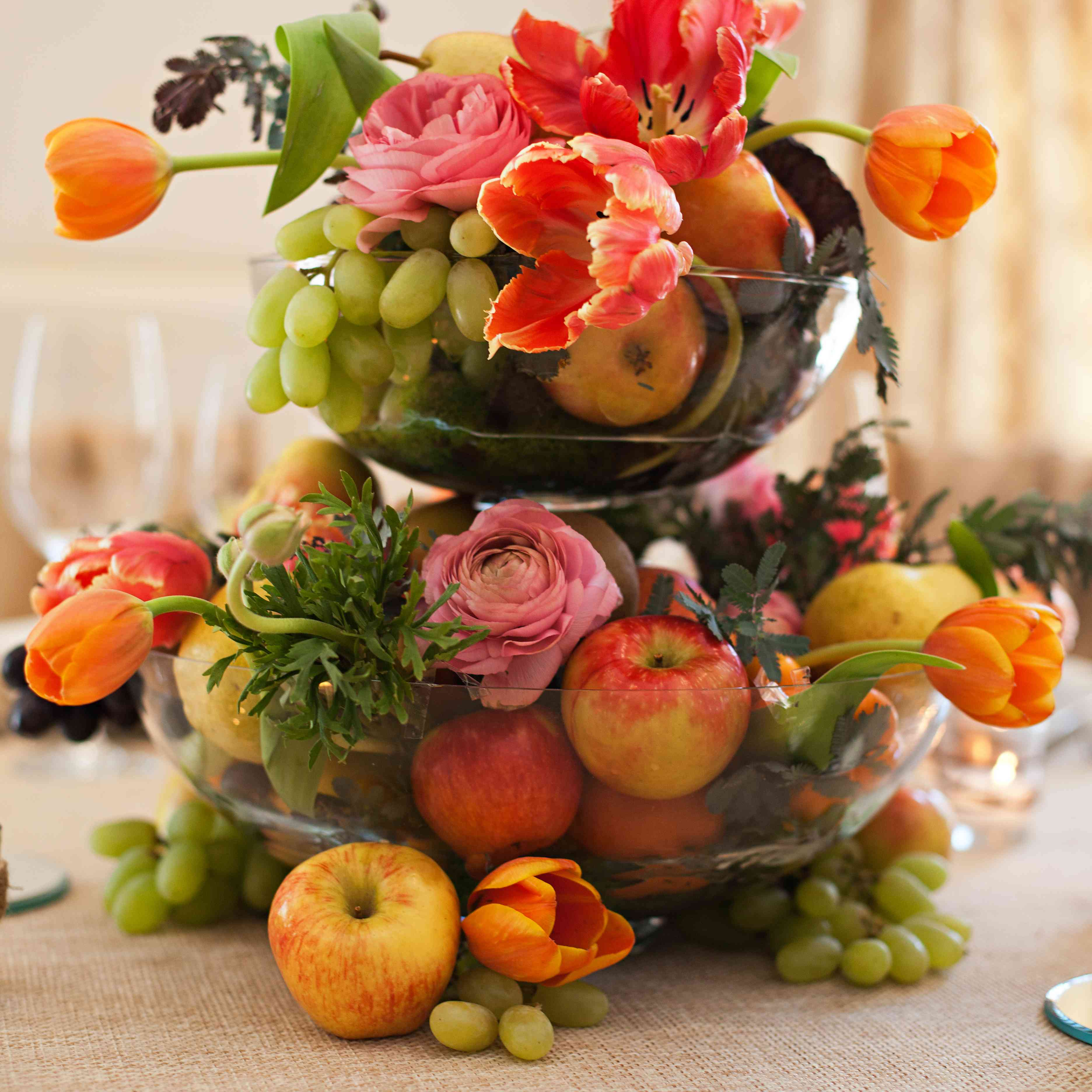 Centerpiece using florals, grapes, and apples