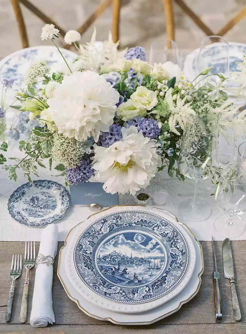 blue porcelain place settings