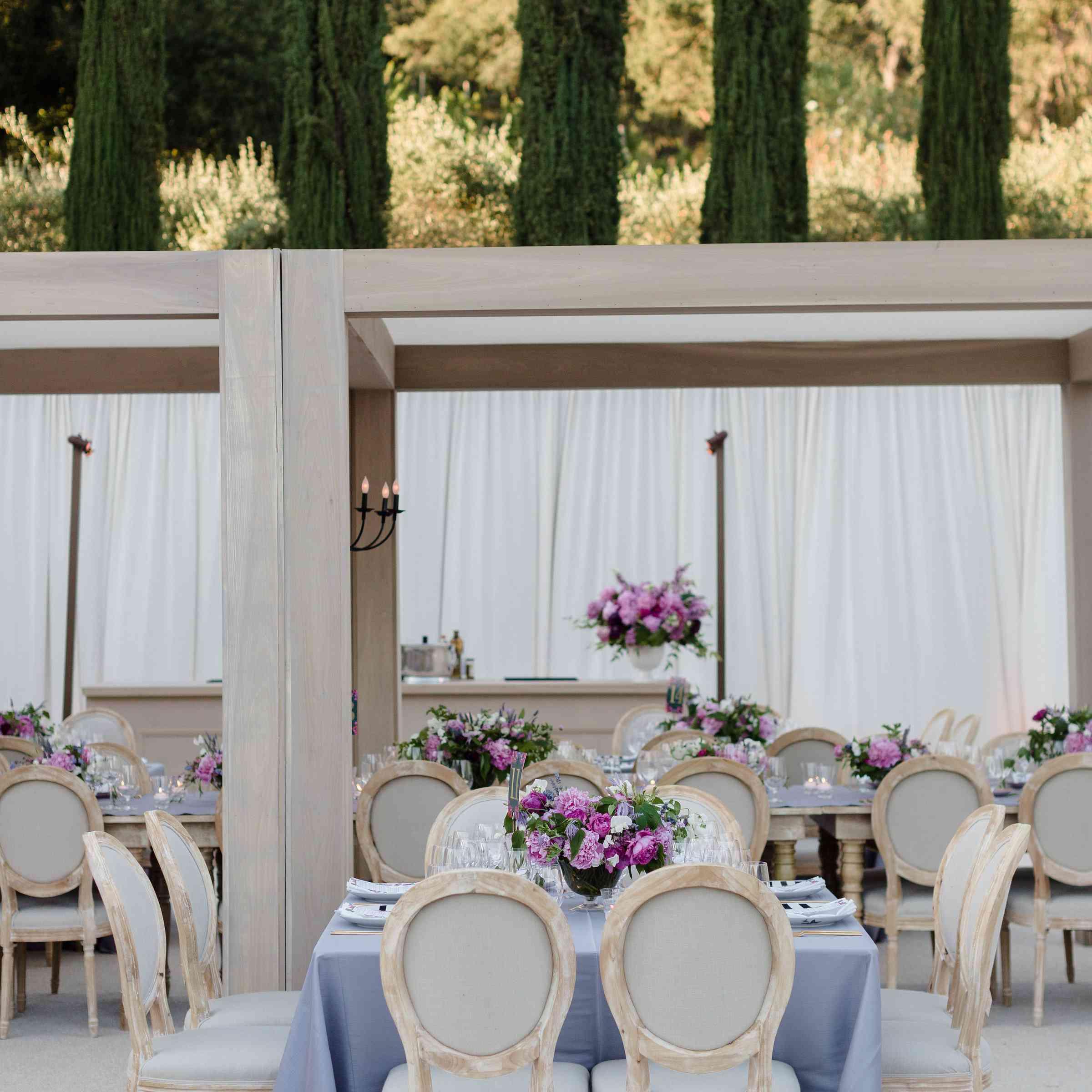 purple reception decor