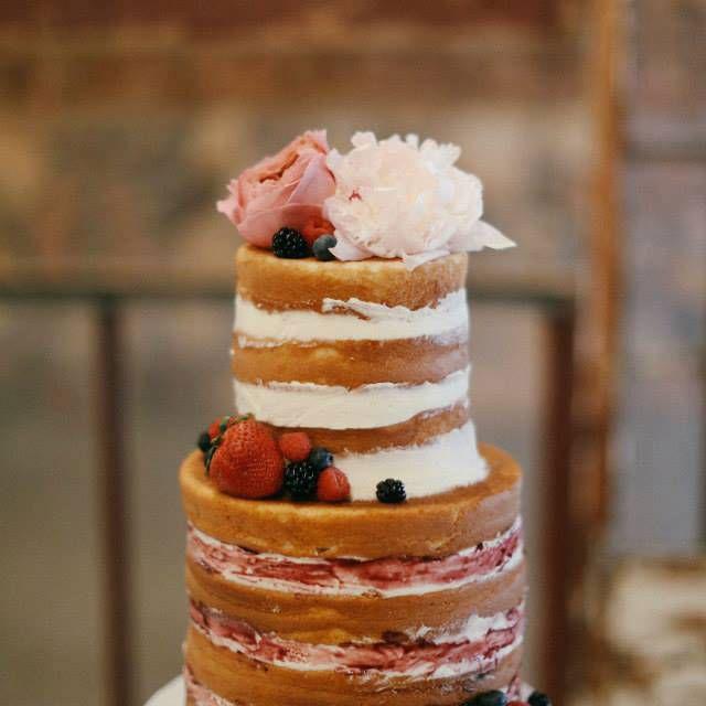 Layered berry naked cake