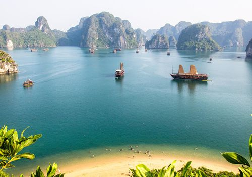 Breathtaking view of Halong Bay taken from the top of an island.