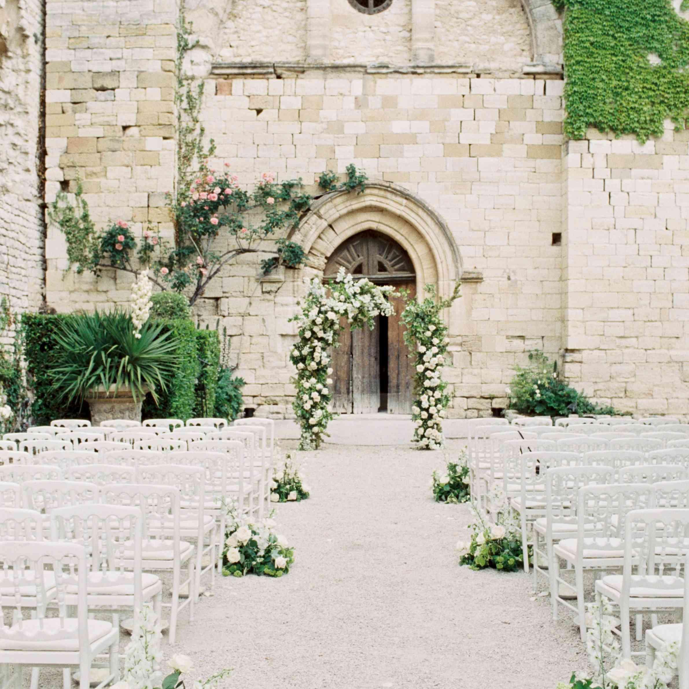 outdoor chateau wedding ceremony decor