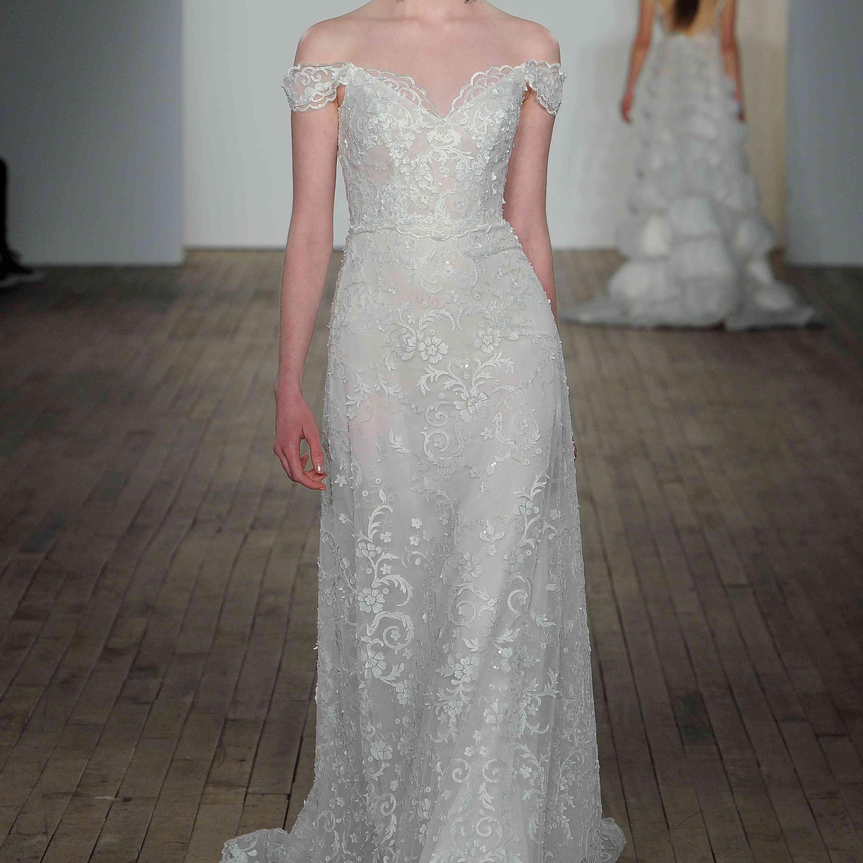 Bea off-the-shoulder wedding dress by lazaro