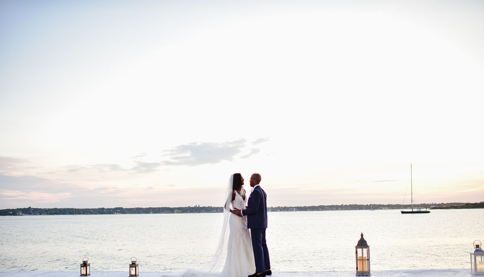 Newlyweds in front of RI coast