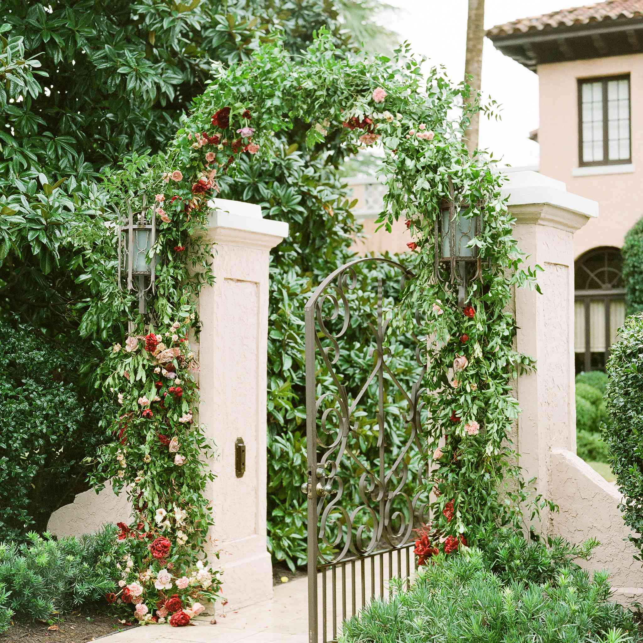 Archway of greenery at the bride's family home