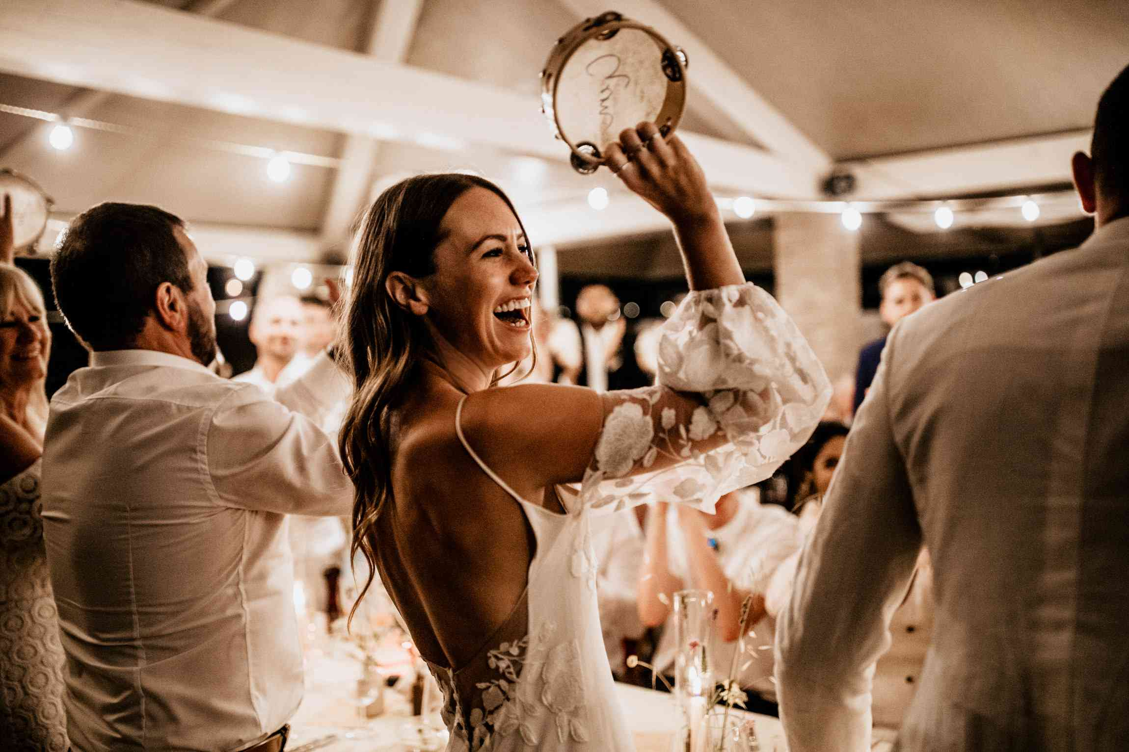 bride with a tambourine