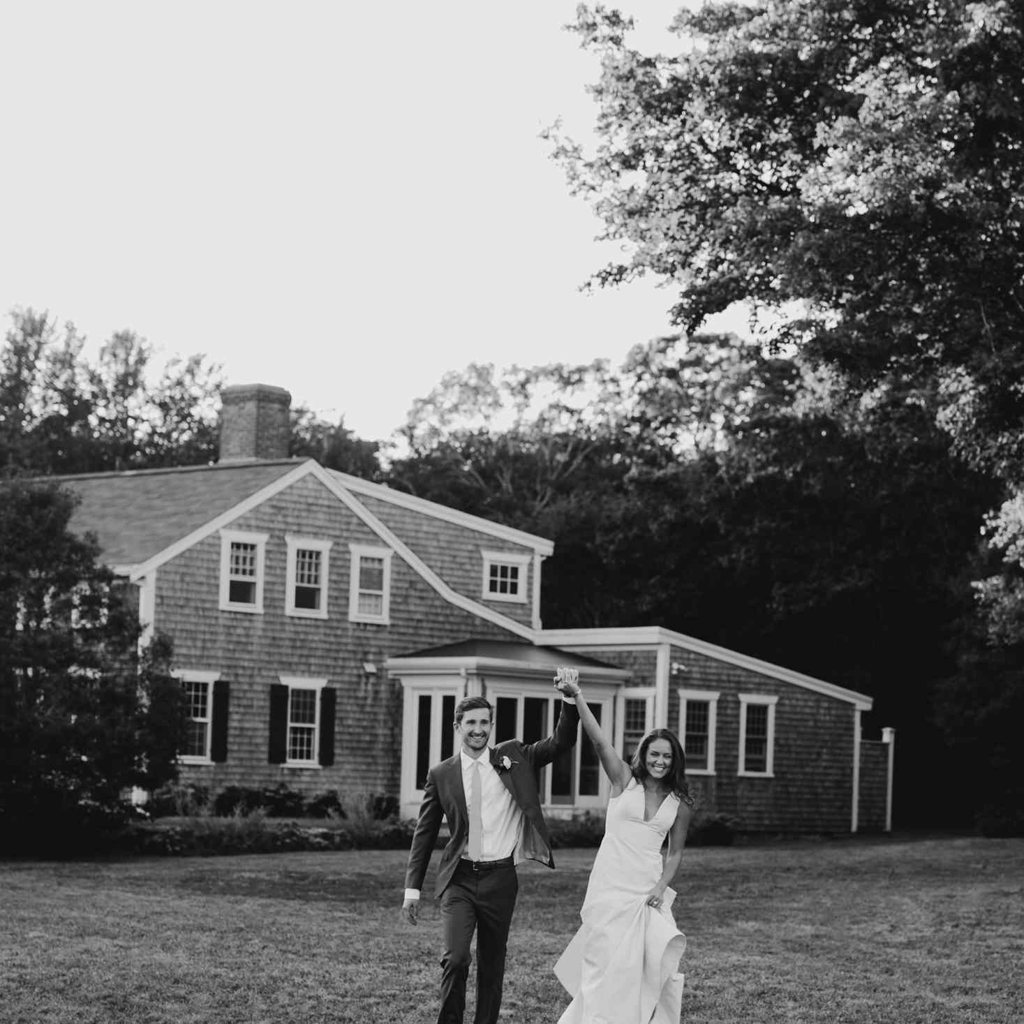 at-home rustic massachusetts wedding, bride and groom celebrating
